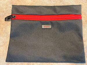 """Tumi ~ Mini Black & Red Cosmetic Zipper Bag 6""""X 8"""" Brand New W/ No Tags"""