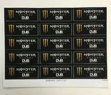 Monster Energy Drink DUB EDITION Sticker Sheet 15 Unused Stickers Lot NOS
