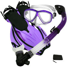 NEW Snorkeling Purge Mask Dry Snorkel Fins Dive Gear Bag Package Set