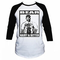 Funny Gay T-Shirt Hairy Is Better Adult Rude Raglan 3/4 Sleeve Mens Graphic Tee