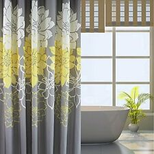 Shower Curtain Decor Yellow Gray 12 Hook Bathroom 72x78'' Home Water Wash Garden