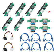 6x Powerful BTC Eth LTC USB3.0 PCI-E 1x To 16x Extender Riser Card Adapter Cable