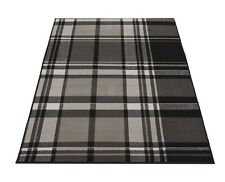 Modern Contemporary Black Grey Tartan Check Rug NEW 150 X 80cm  Boys Bedroom