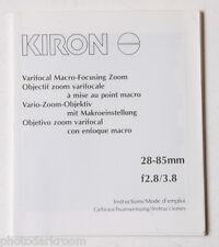 Kiron 28-85mm 2.8-3.8 Lens Instruction Manual Book - English Fr Es De - USED B48