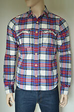 NEW Abercrombie & Fitch South Notch Flannel Shirt White & Blue Plaid M RRP £88