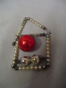 """Christmas Ornament, Mercury Glass Beads, House, Pink & Silver 3""""x2"""" Vintage"""