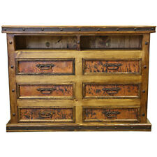 Copper TV Dresser, TV Stand  Western Rustic Real Wood Real Copper Cabin Lodge