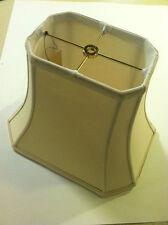 "BEIGE Lampshade Rectangular Cut-Corner Lamp Shade Shantung Silk 14"""