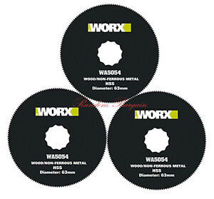 Worx 63mm HSS Circle Blade for Sonicrafter/Oscillating Tool/Multi-tool Pack of 3