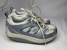 Sketchers Shape Up White Blue Tennis Shoes Workout Athletic Comfort  Size 6.5