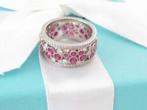 TIFFANY & CO PLATINUM COBBLESTONE DIAMOND SAPPHIRE MEDALLION RING BAND SIZE 6