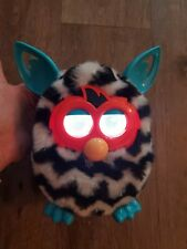 FURBY BOOM 2012 Black White Teal Zig Zags Stripes Working Interactive zebra