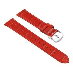 StrapsCo Women's Croc Crocodile Grain Embossed Padded Leather Watch Band Strap