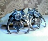 Gothic Bat Wing Earrings made from Solid Sterling Silver with antiqued patina