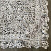 Vintage Large Lace Floral Beige Tablecloth or Bedspread Coverlet 90 x 106