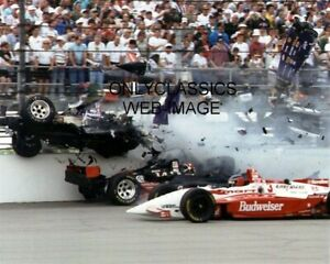 1995 STAN FOX CAR WRECK HIT BY EDDIE CHEEVER'S INDY 500 AUTO RACING 8X10 PHOTO