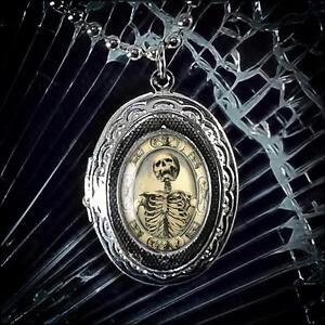 "Silver Locket Gothic Victorian Memento Mori Skull Keepsake Pendant Necklace 24"""