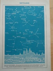 STARS IN SEPTEMBER OVER GLASGOW old vintage retro print 1940's SPACE ASTRONOMY