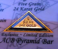 5 Pack of ACB GOLD PYRAMID 5GRAIN 24K SOLID BULLION MINTED BAR 99.99 FINE W/COA!