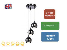 Modern black chrome droplet round eyeball 3-way pendant light G10 LED  14260