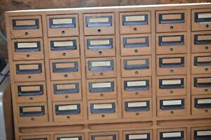 Vintage 1950s Wood 60 Drawer, Three Shelf Library Card Catalog Cabinet,