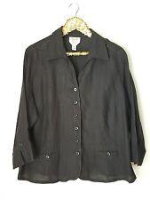 TALBOTS Woman Irish Linen Blouse 3/4 Sleeve Ink Black Plus 18W Shirt Top