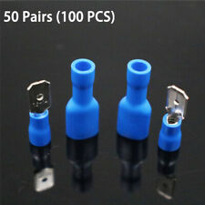 Wire Electrical Automotive Butt Connector Insulated Crimp Terminal Blue Spade