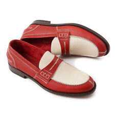 NIB $595 CANALI Red and Ivory Slip-On Leather Loafers US 8 (Eu 41) Shoes
