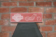 Harlet Davidson Vintage Shabby Chic Wooden Sign Old Look Motor Bike American