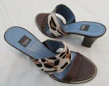 BIALA womens 8 brown leather leopard animal print calf hair sandals slides NEW