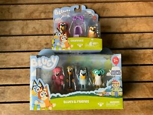 BLUEY FIGURE PACKS X2, GRANNIES AND BLUEY & FRIENDS, NEW IN BOX
