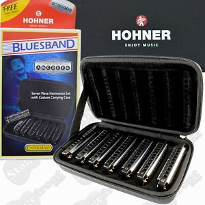HOHNER BLUESBAND 7 PIECE HARMONICA SET 91105 WITH CARRY CASE BLUES BAND