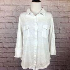 0f182147415 Market   Spruce Top Women Medium Button Blouse White Burnout Pockets