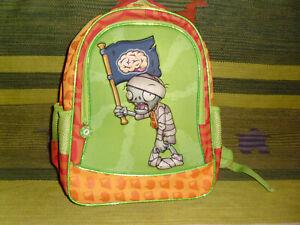 "Plants Vs. Zombies brain flag backpack school kids green red book bag zipper 15"""