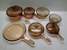 11 pc VISION CORNING WARE BROWN AMBER COOKWARE GLASS POT SAUCE PAN SET LOT #W