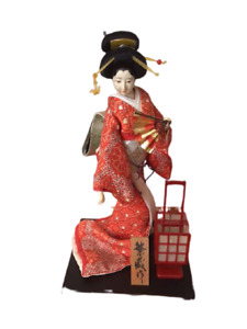 Vintage Japanese doll Oiran Oiran 40 years ago with glass case