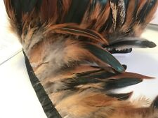 Natural Tan BRONZE Rooster Coque Feather Fringe Ribbon Trim DIY (price for 30cm)