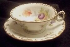 CHARLES AHRENFELDT & SON SAXONIA VTG CHINA FLORAL DEMITASSE CUP AND SAUCER