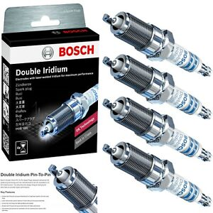 4 X Bosch Double Iridium Spark Plugs For 2013-2018 HYUNDAI SANTA FE SPORT L4-2.0