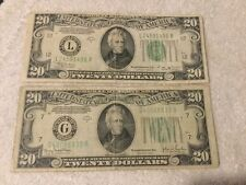 1934 $20.00 x 2 US Currency Lot w/free shipping