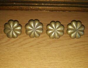 4 Antique Vintage Bronze Brass Nails Ornate Wood Chest Box Trunk