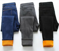 Women Fleece Lined Denim Jeans Stretch Pants Trousers Winter Leggings Thick Pant