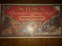 ANTIQUE 1929 NOMA C6 CHRISTMAS LIGHTING SET OF 8 MAZDA LAMPS- BERRY BEADS IN BOX