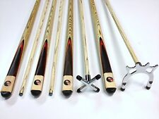NPC FULL ASH WOODEN POOL SNOOKER CUES SET 2x Cues Satin Chrome Rest & Spider
