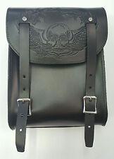 Genuine Leather Motorcycle Tool Bag - Sisy Bar - Embossed Skull - American Made