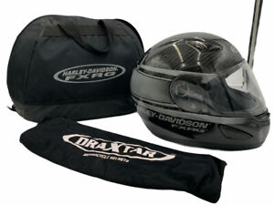 Harley Davidson FXRG Full Face Carbon Fiber Black Helmet Size L W: Carrying Bag