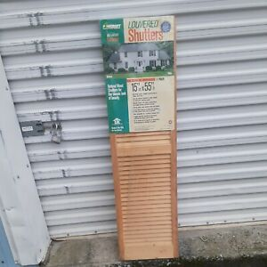 """1-Pair of 55""""x15""""Unfinished Exterior/Interior Wooden Window Shutters"""