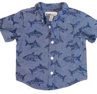 New Kids Headquarters Baby Boy Shirt 6/9M Button Down Short Sleeve Shark Blue