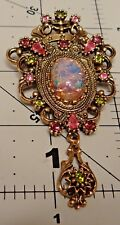 Vintage Brooch/Pendant Signed Coventry Lucite with Flecks of Glitter and drop