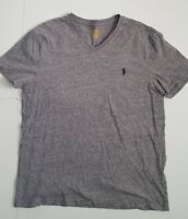 Polo Ralph Lauren Custom Slim Fit V-Neck T Shirt Men's Size L Gray Short Sleeve